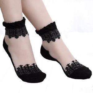 2 pairs of Baroque Sheer Vamp Sock - Black